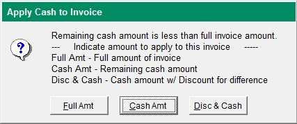 Apply Cash to Invoice Screen