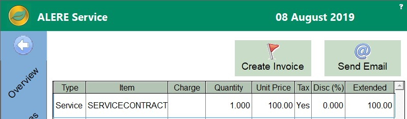 Service Ticket Email Invoice Button